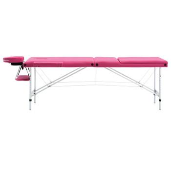 vidaXL Sklopivi masažni stol s 3 zone aluminijski ružičasti