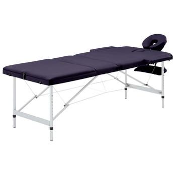 vidaXL Sklopivi masažni stol s 3 zone aluminijski ljubičasti