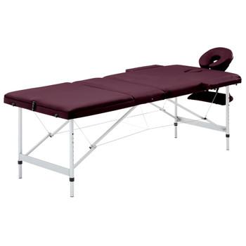 vidaXL Sklopivi masažni stol s 3 zone aluminijski ljubičasta boja vina