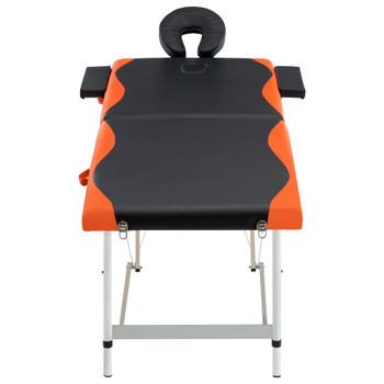 vidaXL Sklopivi masažni stol s 2 zone aluminijski crno-narančasti