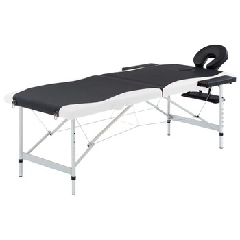 vidaXL Sklopivi masažni stol s 2 zone aluminijski crno-bijeli