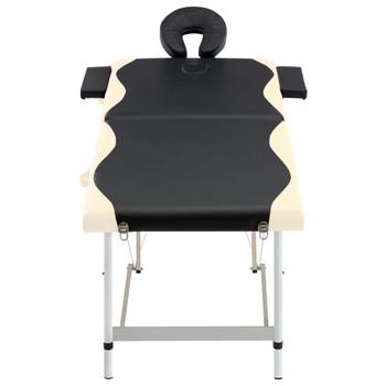 vidaXL Sklopivi masažni stol s 2 zone aluminijski crno-bež