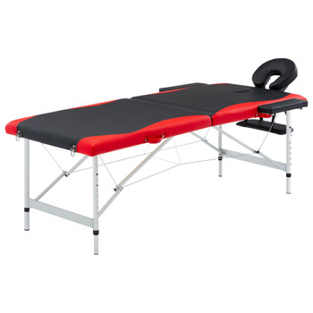 vidaXL Sklopivi masažni stol s 2 zone aluminijski crno-crveni