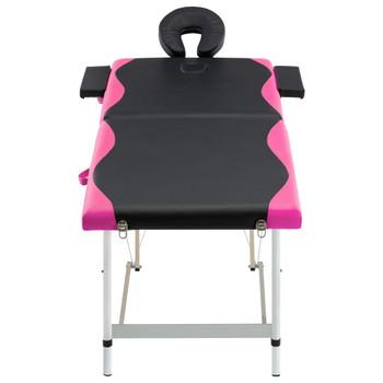vidaXL Sklopivi masažni stol s 2 zone aluminijski crno-ružičasti