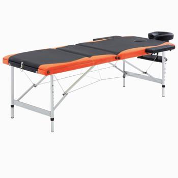 vidaXL Sklopivi masažni stol s 3 zone aluminijski crno-narančasti