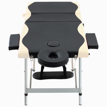 vidaXL Sklopivi masažni stol s 3 zone aluminijski crno-bež