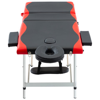 vidaXL Sklopivi masažni stol s 3 zone aluminijski crno-crveni