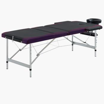 vidaXL Sklopivi masažni stol s 3 zone aluminijski crno-ljubičasti