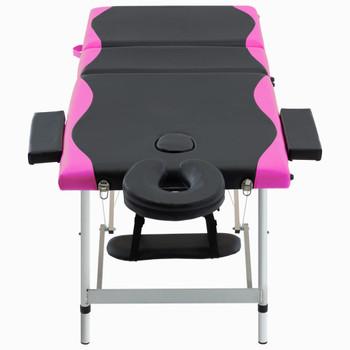 vidaXL Sklopivi masažni stol s 3 zone aluminijski crno-ružičasti