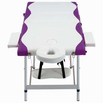 vidaXL Sklopivi masažni stol s 3 zone aluminijski bijelo-ljubičasti
