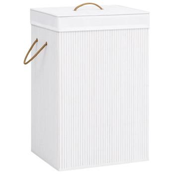 vidaXL Košara za rublje od bambusa bijela