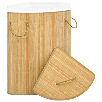 vidaXL Kutna košara za rublje od bambusa 60 L
