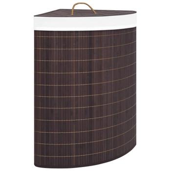 vidaXL Kutna košara za rublje od bambusa smeđa 60 L