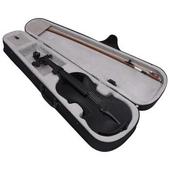 vidaXL Violinski set s gudalom i podbradkom crni 4/4