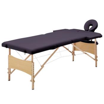 vidaXL Sklopivi masažni stol s 2 zone drveni ljubičasti