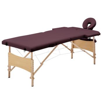 vidaXL Sklopivi masažni stol s 2 zone drveni ljubičasta boja vina