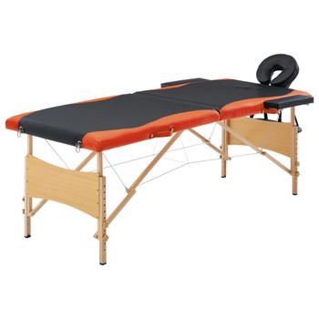 vidaXL Sklopivi masažni stol s 2 zone drveni crno-narančasti