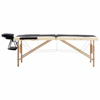 vidaXL Sklopivi masažni stol s 2 zone drveni crno-bež