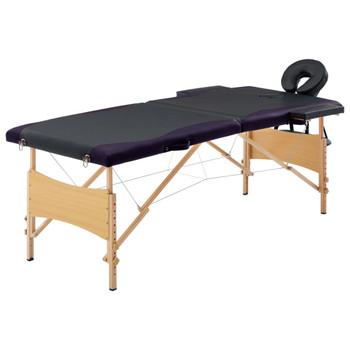 vidaXL Sklopivi masažni stol s 2 zone drveni crni