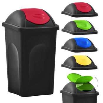 vidaXL Kanta za smeće s ljuljajućim poklopcem 60 L crno-crvena