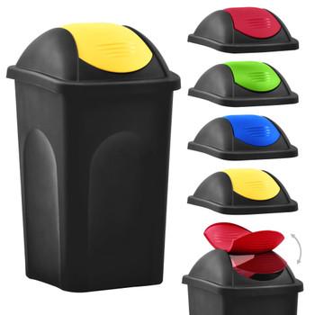 vidaXL Kanta za smeće s ljuljajućim poklopcem 60 L crno-žuta