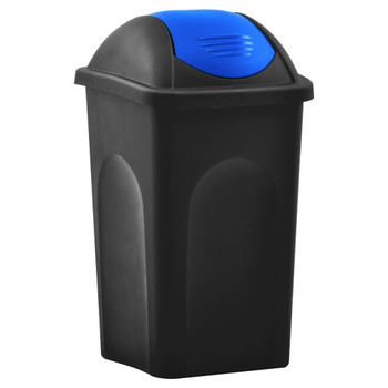 vidaXL Kanta za smeće s ljuljajućim poklopcem 60 L crno-plava
