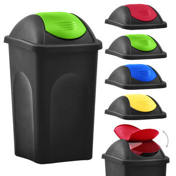 vidaXL Kanta za smeće s ljuljajućim poklopcem 60 L crno-zelena