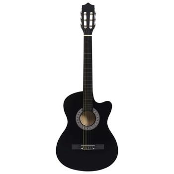 "vidaXL Akustična gitara Western s prorezom i 6 žica 38 "" crna"