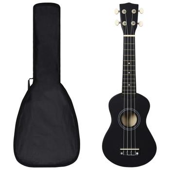 """vidaXL Set dječjeg ukulelea Soprano s torbom crni 21 """""""