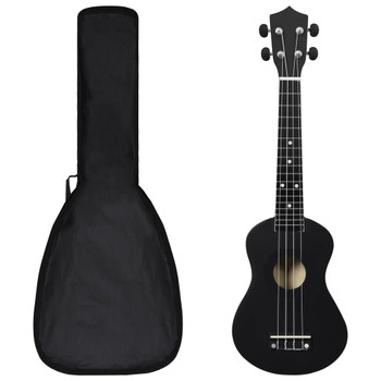 """vidaXL Set dječjeg ukulelea Soprano s torbom crni 23 """""""