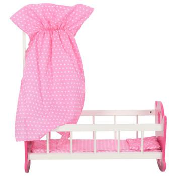 vidaXL Krevet za lutke s krovom MDF 50 x 34 x 60 cm ružičasti