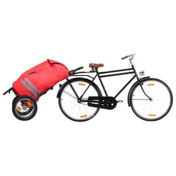vidaXL Sklopiva prikolica za bicikl s torbom za namirnice crveno-crna