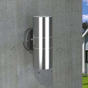 vidaXL Vrtne Zidne Svjetiljke 2 kom Nehrđajući Čelik  Svjetlo usmjereno prema gore/dolje