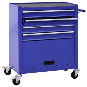 vidaXL Kolica za alat s 4 ladice čelična plava