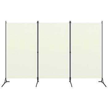 vidaXL Sobna pregrada s 3 panela krem-bijela 260 x 180 cm