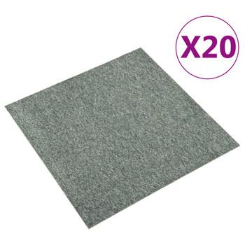 vidaXL Podne pločice s tepihom 20 kom 5 m² 50 x 50 cm zelene