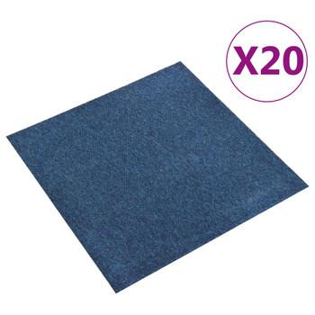 vidaXL Podne pločice s tepihom 20 kom 5 m² 50 x 50 cm tamnoplave
