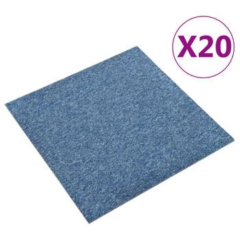 vidaXL Podne pločice s tepihom 20 kom 5 m² 50 x 50 cm plave