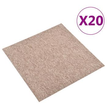 vidaXL Podne pločice s tepihom 20 kom 5 m² 50 x 50 cm bež