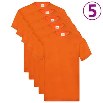 Fruit of the Loom originalne majice 5 kom narančaste S pamučne