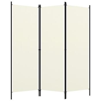 vidaXL Sobna pregrada s 3 panela krem-bijela 150 x 180 cm