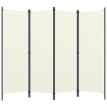 vidaXL Sobna pregrada s 4 panela krem-bijela 200 x 180 cm