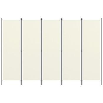 vidaXL Sobna pregrada s 5 panela krem-bijela 250 x 180 cm