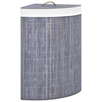 vidaXL Kutna košara za rublje od bambusa siva 60 L