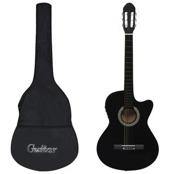 vidaXL 12-dijelni set gitare Western s ujednačivačem i 6 žica crni