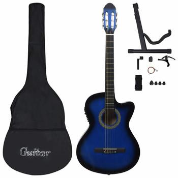 vidaXL 12-dijelni set gitare Western s ujednačivačem i 6 žica plavi