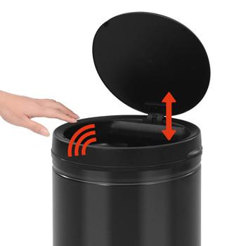 vidaXL Automatska kanta za otpad sa senzorom 70 L ugljični čelik crna