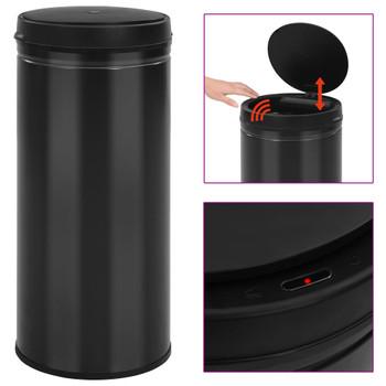 vidaXL Automatska kanta za otpad sa senzorom 80 L ugljični čelik crna