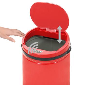 vidaXL Automatska kanta sa senzorom 40 L ugljični čelik crvena
