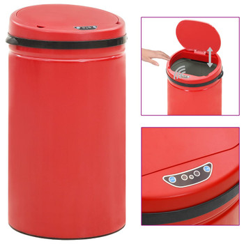 vidaXL Automatska kanta sa senzorom 50 L ugljični čelik crvena